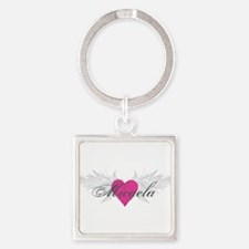 Micaela-angel-wings.png Square Keychain