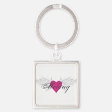 Melany-angel-wings.png Square Keychain