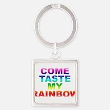Come Taste My Rainbow Square Keychain