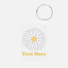Flower with Custom Text. Keychains