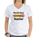 3rd Grade Teacher (Worlds Best) Women's V-Neck T-S