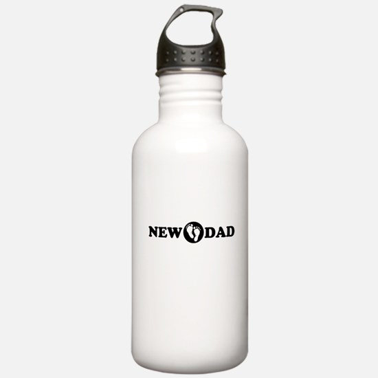 New Dad with Footprints Water Bottle