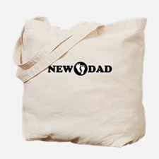 New Dad with Footprints Tote Bag