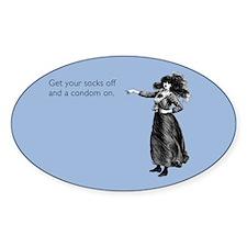 Socks off, Condom on Sticker (Oval)