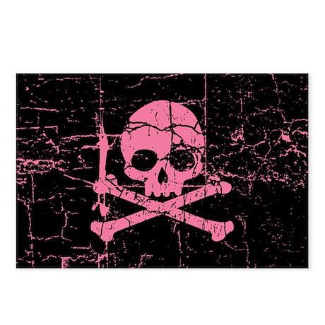 Cracked Pink Skull And Crossbones Postcards (Packa