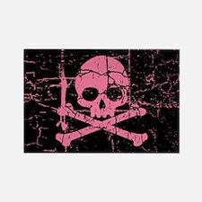 Cracked Pink Skull And Crossbones Rectangle Magnet