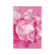 Pink Skull Roses Rectangle Magnet
