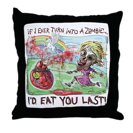 Be Mine Zombie Girl Throw Pillow