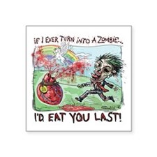 """Be Mine Zombie Boy Square Sticker 3"""" x 3"""""""
