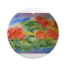 Water lilies! Watercolor art! Ornament (Round)