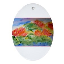 Water lilies! Watercolor art! Ornament (Oval)