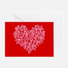 Pink Red Skull Heart Greeting Card