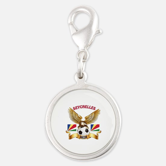 Seychelles Football Design Silver Round Charm