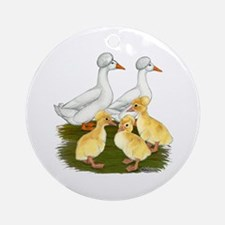 Crested Duck Family Ornament (Round)