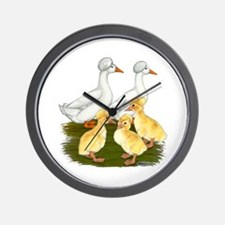 Crested Duck Family Wall Clock