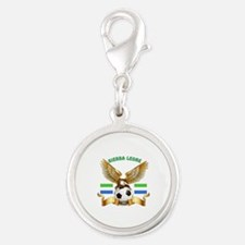 Sierra Leone Football Design Silver Round Charm