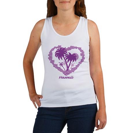 Hawaiian Palm Tree Hearts Women's Tank Top