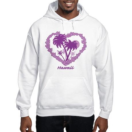 Hawaiian Palm Tree Hearts Hooded Sweatshirt