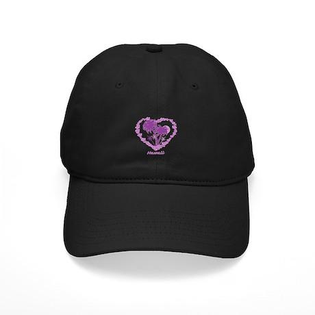 Hawaiian Palm Tree Hearts Black Cap