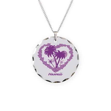 Hawaiian Palm Tree Hearts Necklace Circle Charm