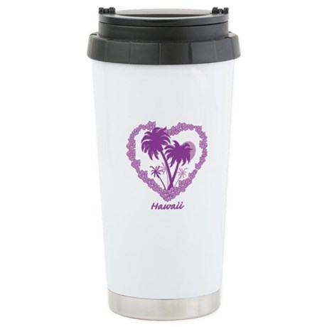 Hawaiian Palm Tree Hearts Stainless Steel Travel M