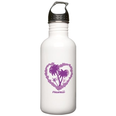 Hawaiian Palm Tree Hearts Stainless Water Bottle 1