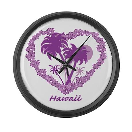 Hawaiian Palm Tree Hearts Large Wall Clock