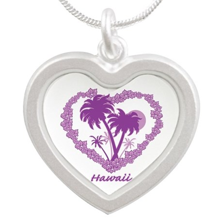 Hawaiian Palm Tree Hearts Silver Heart Necklace
