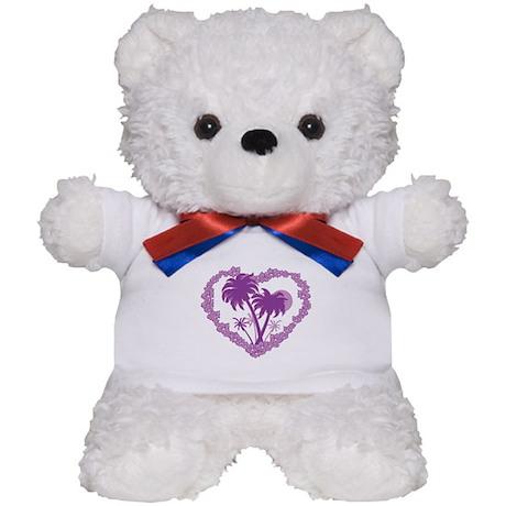 Purple Palm Tree Hearts Teddy Bear