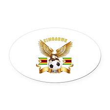 Zimbabwe Football Design Oval Car Magnet