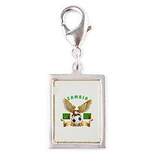 Zambia Football Design Silver Portrait Charm