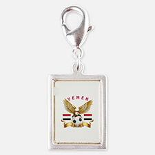 Yemen Football Design Silver Portrait Charm