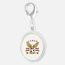Yemen Football Design Silver Oval Charm