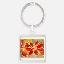 Red orchids! Beautiful art! Square Keychain