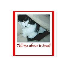 Valentines Day Black and White Cat Square Sticker