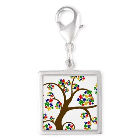 Puzzled Tree of Life Silver Square Charm