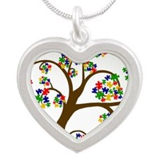 Puzzled Tree of Life Silver Heart Necklace