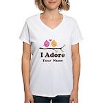 Personalized I Adore Birds Women's V-Neck T-Shirt