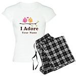 Personalized I Adore Birds Women's Light Pajamas