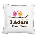 Personalized I Adore Birds Square Canvas Pillow