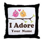Personalized I Adore Birds Throw Pillow
