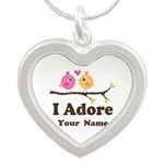 Personalized I Adore Birds Silver Heart Necklace