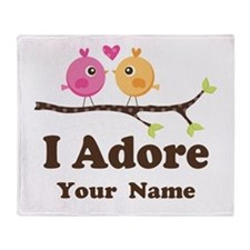 Personalized I Adore Birds Throw Blanket