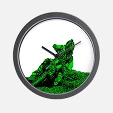 RV1bike green Wall Clock