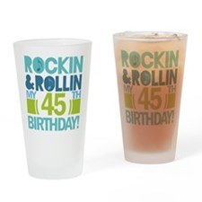 45th Birthday Rock and Roll Drinking Glass