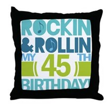 45th Birthday Rock and Roll Throw Pillow