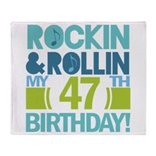 47th Birthday Rock and Roll Throw Blanket