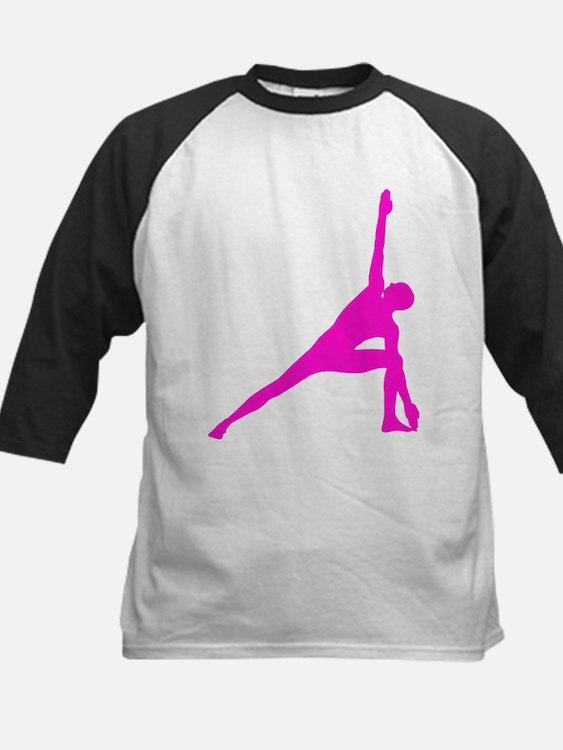 Bikram Yoga Triangle Pose in Pink Kids Baseball Je