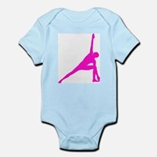Bikram Yoga Triangle Pose in Pink Infant Bodysuit