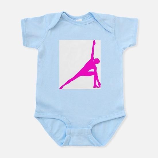 Bikram Yoga Triangle Pose in Pink Infant Bodysuit